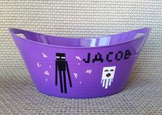 Video game themed basket, easter pail, party bucket, Enderman birthday, easter basket, Ghast basket, birthday decoration