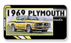 1969 Plymouth Barracuda Magnet - PACKAGE OF 4