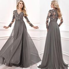 Weddings & Events Mother Of The Bride Dresses Tulle Lace Sequined 3/4 Long Sleeves Evening Dress Deep V Neck Appliques Groom Mother Formal Gowns Wedding Party Dress