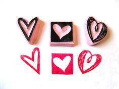 Heart Rubber Stamp Set Valentines Stamps by SweetSpotStampShop, $7.99