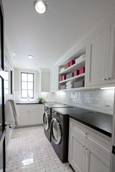 open shelves in laundry to reduce cabinetry cost.