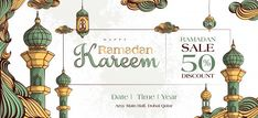 Ramadan kareem sale banner with hand dra. Eid Mubarak Greeting Cards, Eid Mubarak Greetings, Ramadan Design, Ramadan Celebration, Iftar Party, Ramadan Background, Golden Texture, Arabesque Pattern, Arabic Pattern
