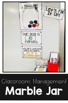 Classroom Management Tool: Fill It Up BUNDLE This marble jar is perfect start for the beginning of the school year. Use for goal setting and setting classroom expectations! Students work together to earn marbles. This is great for any grade level! First Grade Classroom, Classroom Setting, Future Classroom, Year 4 Classroom, Kindergarten Classroom Organization, Classroom Procedures, School Organization, Kindergarten Calendar Board, Kindergarten Procedures