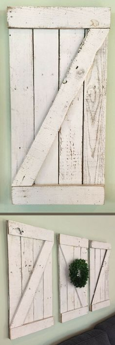 These are fantastic! Rustic Barn Door Wood Wall Hanging, Wooden Shutter, Small Barn Door, Farmhouse Wall Decor, Housewarming Gift Idea, Farmhouse Gallery Wall, Rustic Farmhouse Home Decor, Shabby Chic Decor, Bedroom Decorations, Family Room Wall Art, Farmhouse Fixer Upper Decor, Fixer Upper Home Decor, Farmhouse Nursery #ad #shabbychichomesideas #homedecor