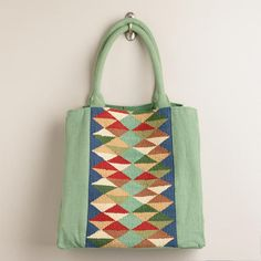 Summer Bag Option...............One of my favorite discoveries at WorldMarket.com: Mint Kilim Tote Bag