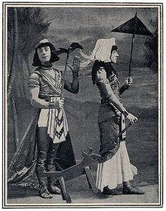 Edmund Payne and Katie Seymour as they appeared for the 'Mummy Dance' in The Messenger Boy, Gaiety Theatre, London, 1900