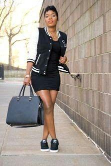 834b09583fa0 Varsity jacket + black dress Tomboy Outfits