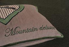 MOUNTAIN_DELUXE_CUSHION_395 Burlap, Reusable Tote Bags, Cushions, Mountain, Paper, Things To Do, Throw Pillows, Hessian Fabric, Cushion