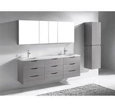 "Madeli Bolano 72"" Double Bathroom Vanity for Quartzstone Top - Ash Grey"
