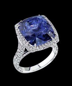 Big Cushion Diamond 4.5 cts. Ring Blue Diamond Jewelry.......