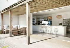 This Minimal Australian Beach House Is What Dreams Are Made Of - UltraLinx Outdoor Rooms, Outdoor Living, Indoor Outdoor, Beach Houses For Rent, Australian Beach, Beach House Kitchens, Beach Shack, Coastal Homes, Coastal Cottage