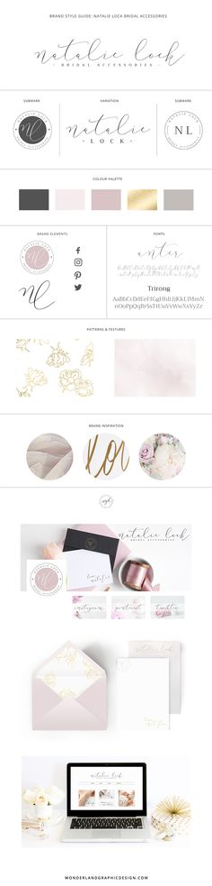 Branding design final brand style board for wedding business, bridal boutique Natalie Lock bridal accessories. From brand inspiration to web design for the bridal store, social media branding and sample print design. Female entrepreneurs, brand your business with Wonderland Graphic Design and take it to the next level!