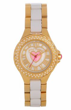 Betsey Johnson Heart Detail Two Tone Watch, 27mm available at #Nordstrom