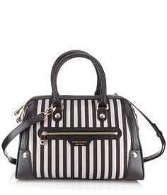 c4cf39769edc miss bendel barrel bag - brown   white stripe barrel bag