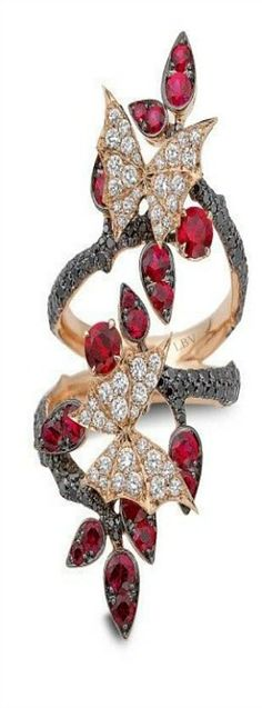 Stephen Webster ♥✤'Fly By Night' Couture long finger ring set in rose gold, with rubies and black and white diamonds
