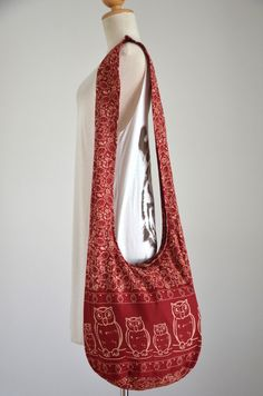 Owl Bag Hippie Hobo Bag Sling Crossbody Bag Boho Bag by Dollypun