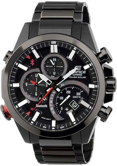 7cc4cc66fa2 Casio Edifice Analogue Bluetooth Watch Tough Solar Chronograph Black  Connects to Phone