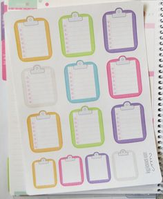 One 6 x 8 sheet of 9 striped clipboard / 4 mini striped clipboard to do list planner stickers cut and ready for use in your Erin Condren life