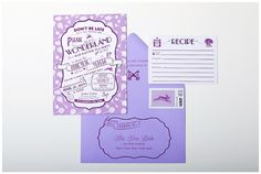 Alice in Wonderland shower invites are perfect for a wedding tea party. Designed with images of keys, a white rabbit, horseflies & pocket watch. Purple Wedding Stationery, Plum Wedding Invitations, Tea Party Invitations, Purple Wedding Invitations, Bridal Shower Invitations, Custom Invitations, Invites, Alice In Wonderland Invitations, Alice In Wonderland Wedding