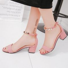 metal String Bead Summer Women Sandals Open Toe shoes Women's Sandles Square heel Women Shoes Korean Style Gladiator Shoes-in High Heels from Shoes on AliExpress Thick Heels Pumps, Sexy High Heels, Ankle Strap Heels, Womens High Heels, Stilettos, High Sandals, Women Sandals, Shoes Women, Ladies Shoes