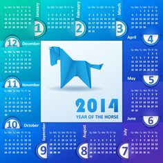 Calendar for the year 2014 of colored paper.