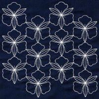Sashiko Patterns In Tropical Sampler