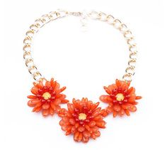Frosted Youth Statement Necklace - Red