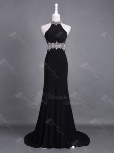 Stunning High Neck Sweep Train Open Back Black Homecoming Prom Dress Beading…