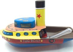 Vintage tin toy pop pop steamer boat miniature tin by GiftlandDeco