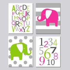 Elephant Nursery Art Quad  Set of Four 8x10 Prints  by Tessyla, $65.00