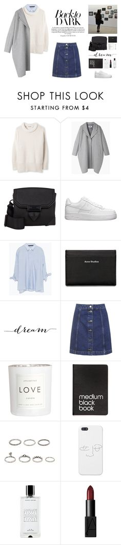 """""""The beauty of this mess is that it brings me close to you."""" by biljanamilenkovic ❤ liked on Polyvore featuring MM6 Maison Margiela, Alexander Wang, NIKE, Zara, Acne Studios, Topshop, H&M, Dinks, Forever 21 and Agonist"""