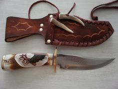 Custom made knife with real elk handle and hand made leather sheath hunting gift present