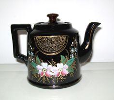 Vintage  English Tea Pot with Beautiful Enamel and Gilt Embellishments