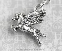 Pegasus Necklace, Silver Winged Horse Jewelry,  Hercules Necklace, Silver Fantasy Horse Charm, Equine Necklace, Pegasus Wings Jewelry