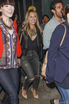 Hilary Duff wearing Miu Miu Studded Leather Clutch Dannijo Mochiyoto Bib Necklace Citizens of Humanity Rocket Jeans in Rollins Gianvito Rossi Suede Pump in Nude
