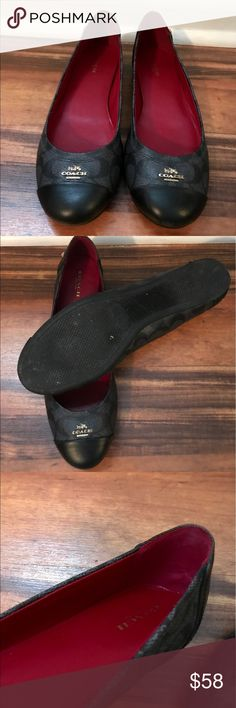 AUTHENTIC Coach Flats -Like New I bought these when 10 weeks pregnant and my feet were never a 9.5 again! I wore maybe three times. As you can see, virtually no wear. They are black. I can ship with or without box. Make me an offer! Coach Shoes Flats & Loafers