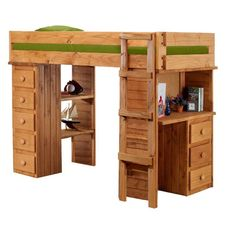 Chelsea Home Twin Loft Bed with Desk and Chest End | Wayfair