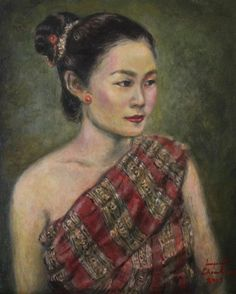 Painting - Young Lao Maiden by Sompaseuth Chounlamany , Laos Culture, Thai Art, Stamp Collecting, Chinese Art, Designing Women, Fine Art America, Original Paintings, Wall Art, Lady