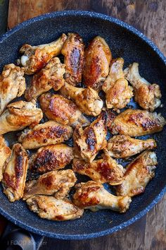Fry chicken wings to make them super tender and flavorful. Pan seared then cooked covered over low heat. All done in 30 minutes. **Replace sugar with substitute for Keto! Ways To Cook Chicken, Best Chicken Recipes, Meat Recipes, Cooking Recipes, Grilled Chicken Wings, Pan Seared Chicken, Pan Fried Chicken Wings Recipe, Keto Chicken, Chicken