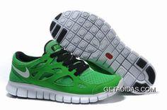 half off 92916 1b8f1 Nike Free Run 2 Green Black White Men s Running Shoes
