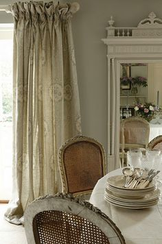 Dropped down, taped heading. Gives a soft deep frilled finish to these beautiful curtains