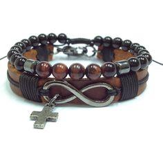 pulseiras masculinas couro infinito couro crucifixo pedras naturais mens…