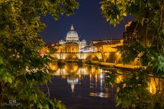 Petersdome at night - At my first evening here in Rome I got a nice shot right next to Castel del Angelo, but direction Vatican to the sunnting Petersdom behind the bridge. A wonderfull shot hrough the trees. City Architecture, Vatican, Shots, Explore, Mansions, Night, House Styles, Bridge, Trees