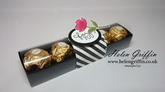 What's pink, black & white and has stripes? This striking Ferrero Rocher tray is the answer and here is how you make it… Diy Gift Box, Diy Box, Ferrero Rocher Chocolates, Candle Packaging, Packaging Ideas, Berry Baskets, Christmas Favors, Christmas Crafts, Christmas Ideas