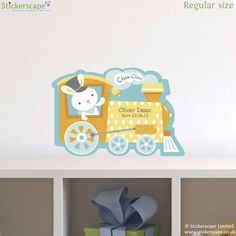 Personalised rabbit and train wall sticker