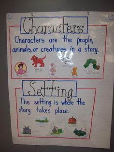 Tons of anchor charts! Character and Setting Anchor Chart, I like the use of pictures from the book to help the kids differentiate between the two- create on smartboard and have students sort pictures Ela Anchor Charts, Kindergarten Anchor Charts, Kindergarten Writing, Character Anchor Charts, Kindergarten Classroom, Preschool Charts, Anchor Charts First Grade, Kindergarten Lessons, Teaching