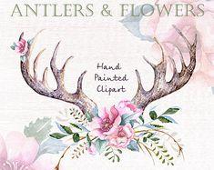 Watercolor Clip Art  Antlers Stag horns Arrows by ReachDreams