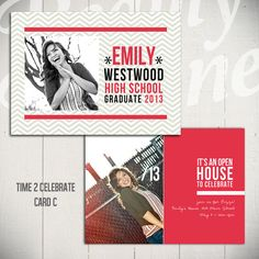 Senior Announcement Card Template Time To by BeautyDivineDesign, $6.00