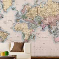 Transform any space with this vintage-inspired map mural, featuring a peel-and-stick design for commitment-free style.   Product:
