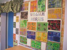 William Morris inspired lino prints - designs etched onto polystyrene tiles then rolled on printing inks Primary School Art, Middle School Art, Art School, Victorian Crafts, Victorian Tiles, Victorian Artwork, School Displays, Classroom Displays, William Morris Art